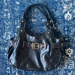 Mondani black faux leather buckle handbag